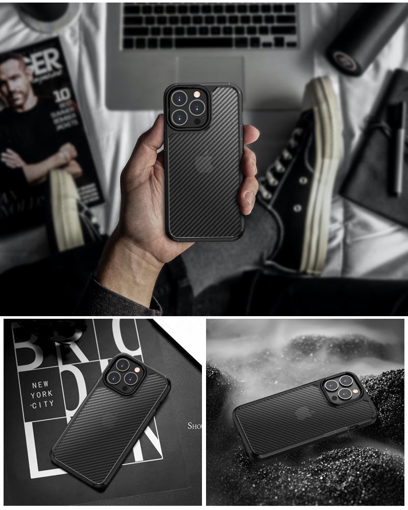 Ốp chống sốc iPhone 12 Promax - LIKGUS vân carbon