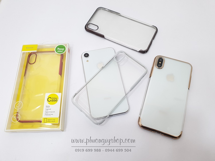 Ốp cứng trong suốt viền xi hiệu Baseus GLITTER Case iPhone Xs Max