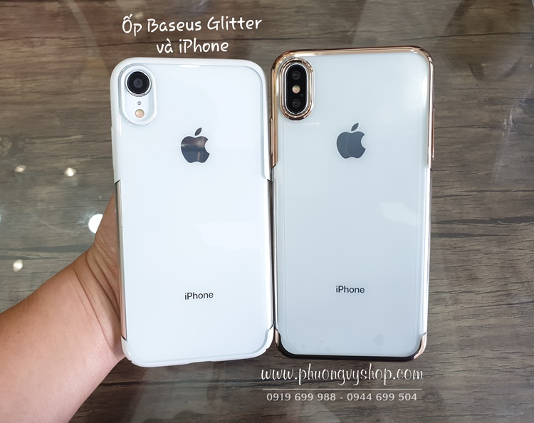 Ốp cứng trong suốt viền xi hiệu Baseus GLITTER Case iPhone XR