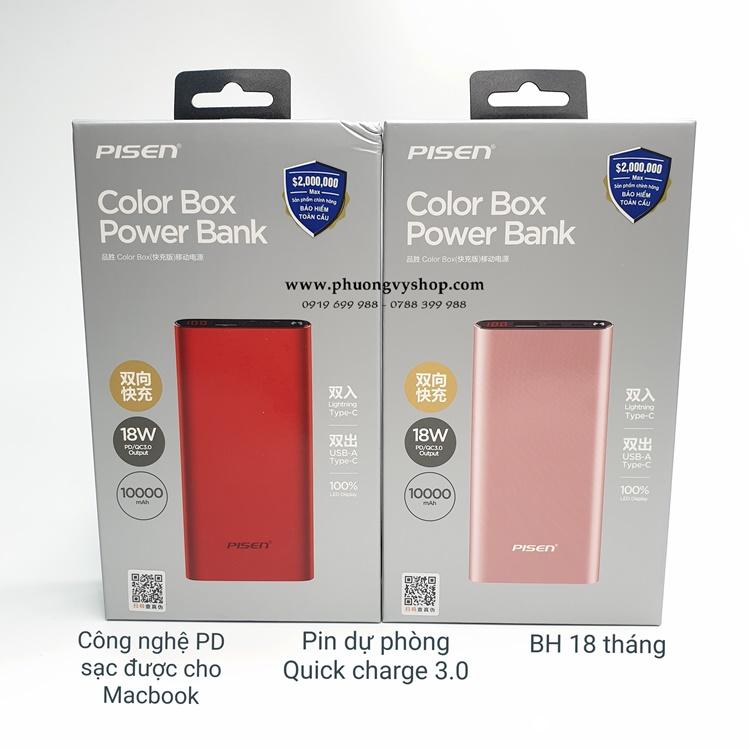 Pin dự phòng Pisen Color Box (QC 3.0, PD 3.0) 10.000 mAh
